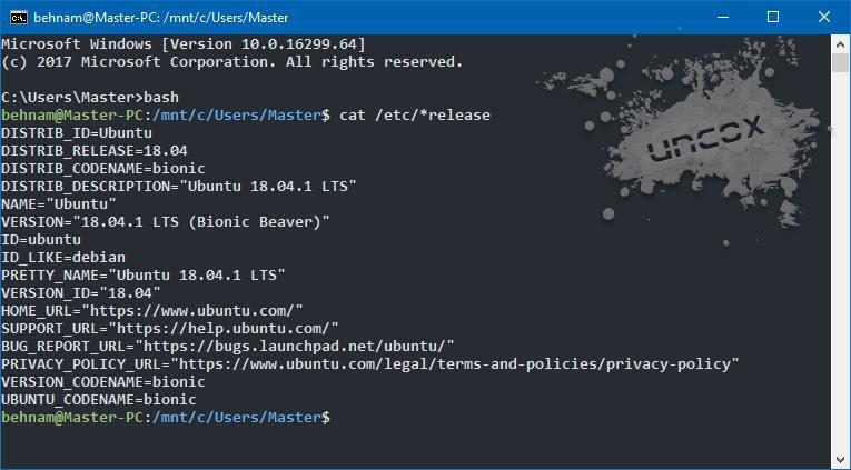 نمونه ای از کد اجرا شده در cmd ویندوز توسط Bash